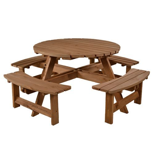 BrackenStyle York Round Picnic Table Seats Round Picnic Table - Picnic table seats 8