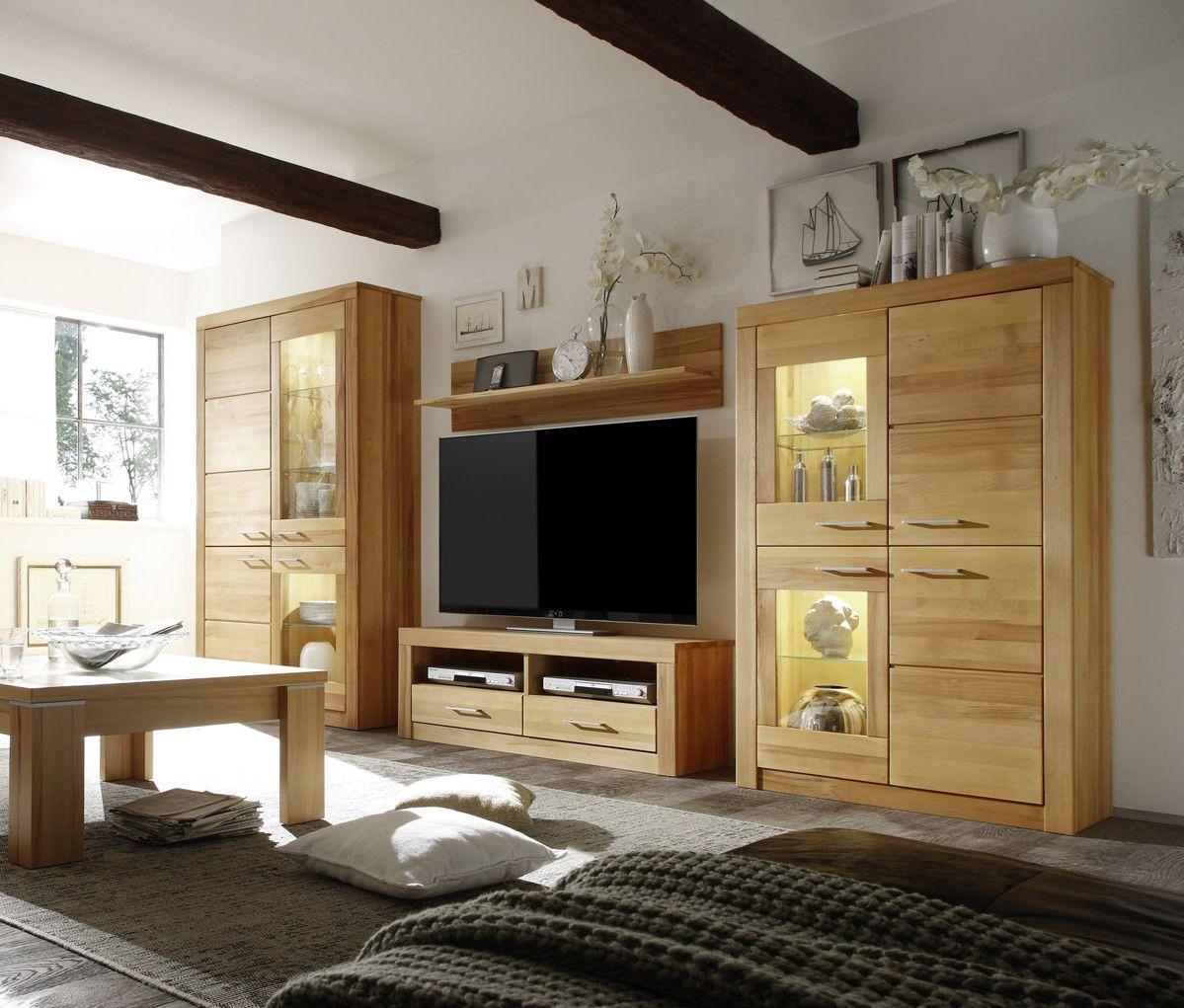 Billig Wohnwände Holz Massiv Modern