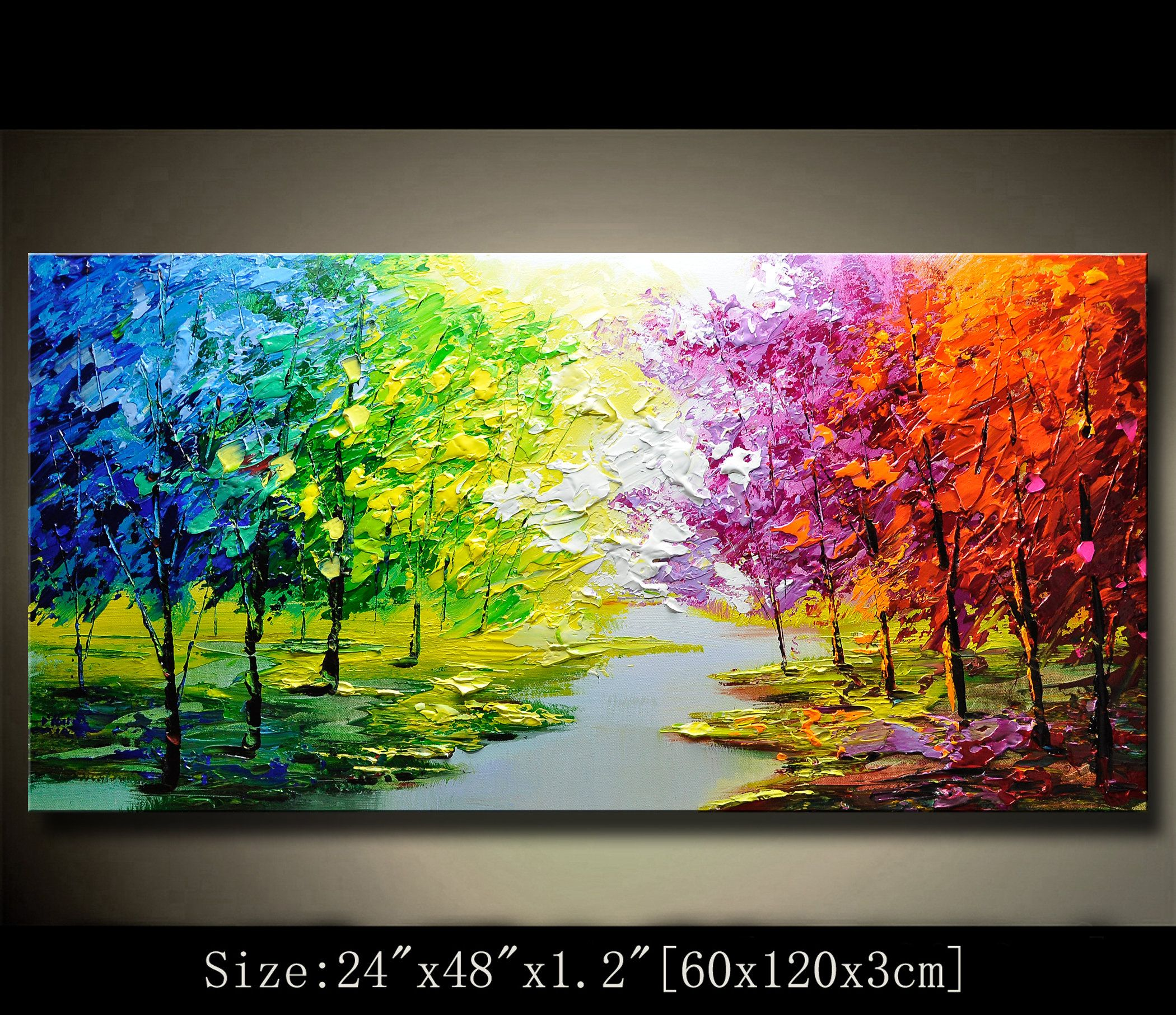 Contemporary Wall Artpalette Knife Paintingcolorful Etsy Abstract Wall Painting Colorful Landscape Paintings Colorful Landscape