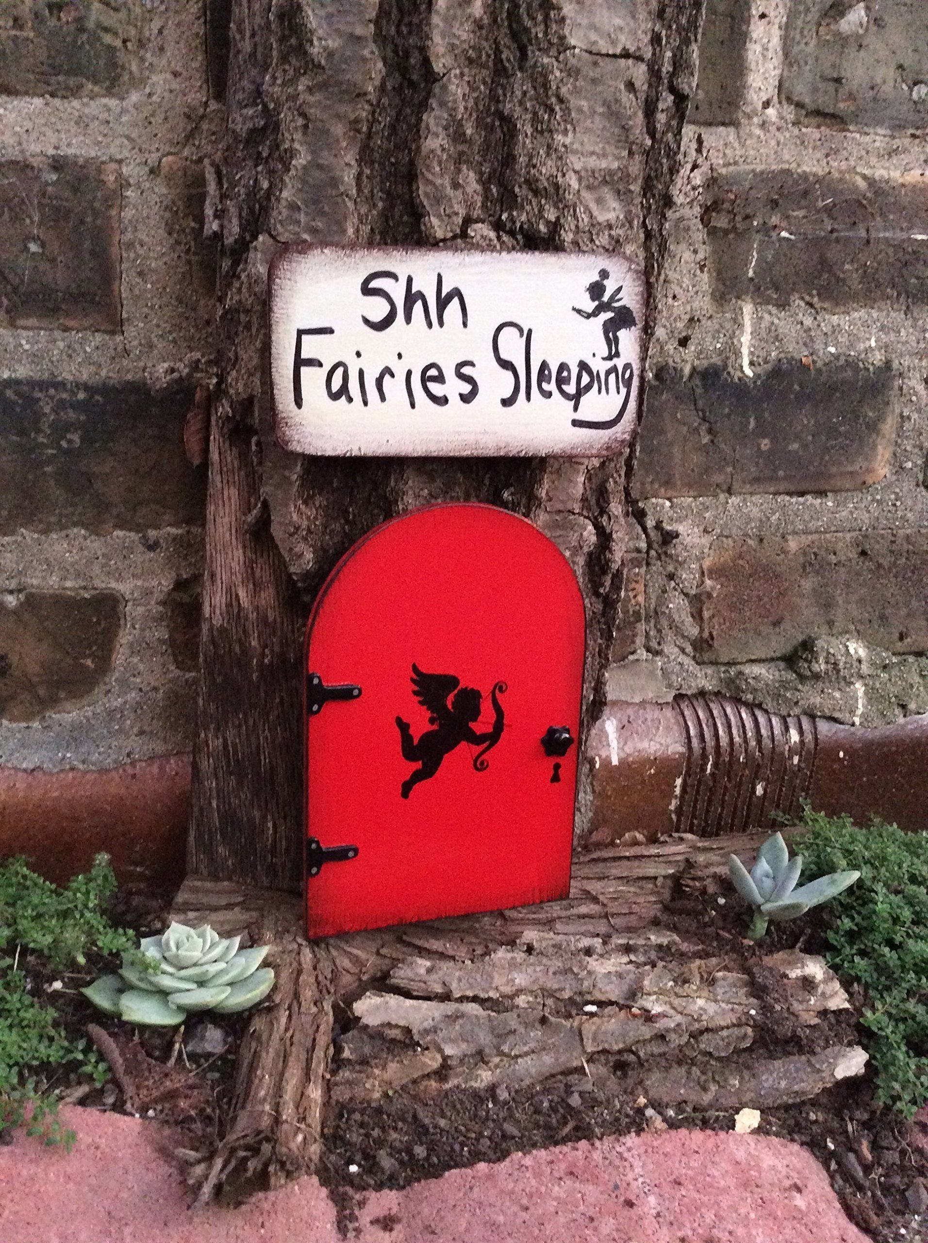Red Fairy Door With A Custom Made Sign Garden Decor Cupid Red