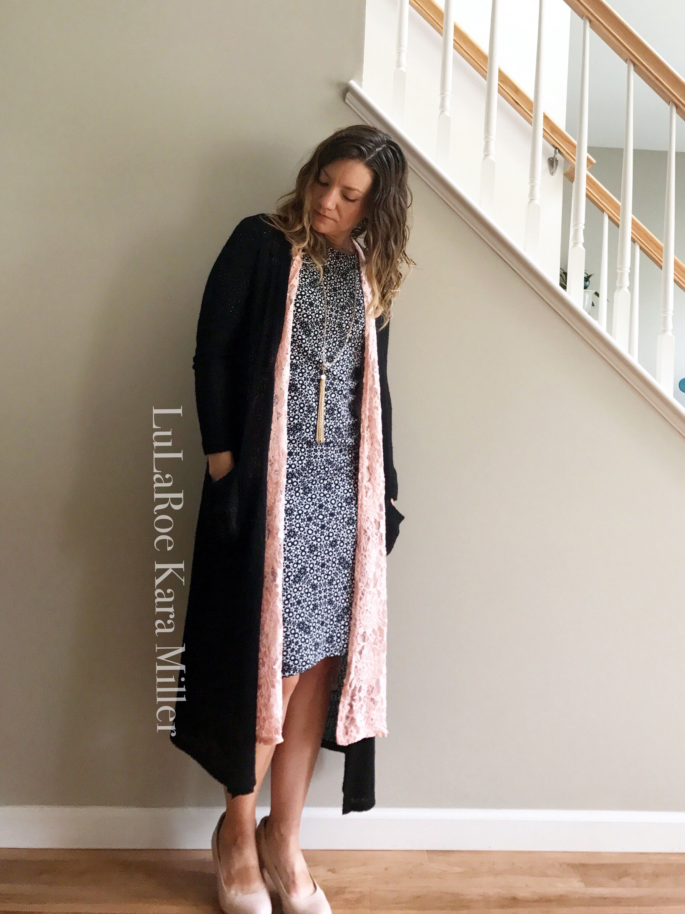 LuLaRoe Julia pencil Tee shirt dress with Joy lace vest duster and ...