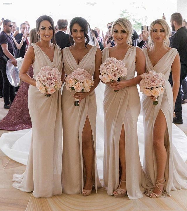 79529e7f40 Simple V Neck Sleeveless Side Slit Chiffon Cheap Bridesmaid Dresses EVERISA  is top 1 online store for cheap prom dresses