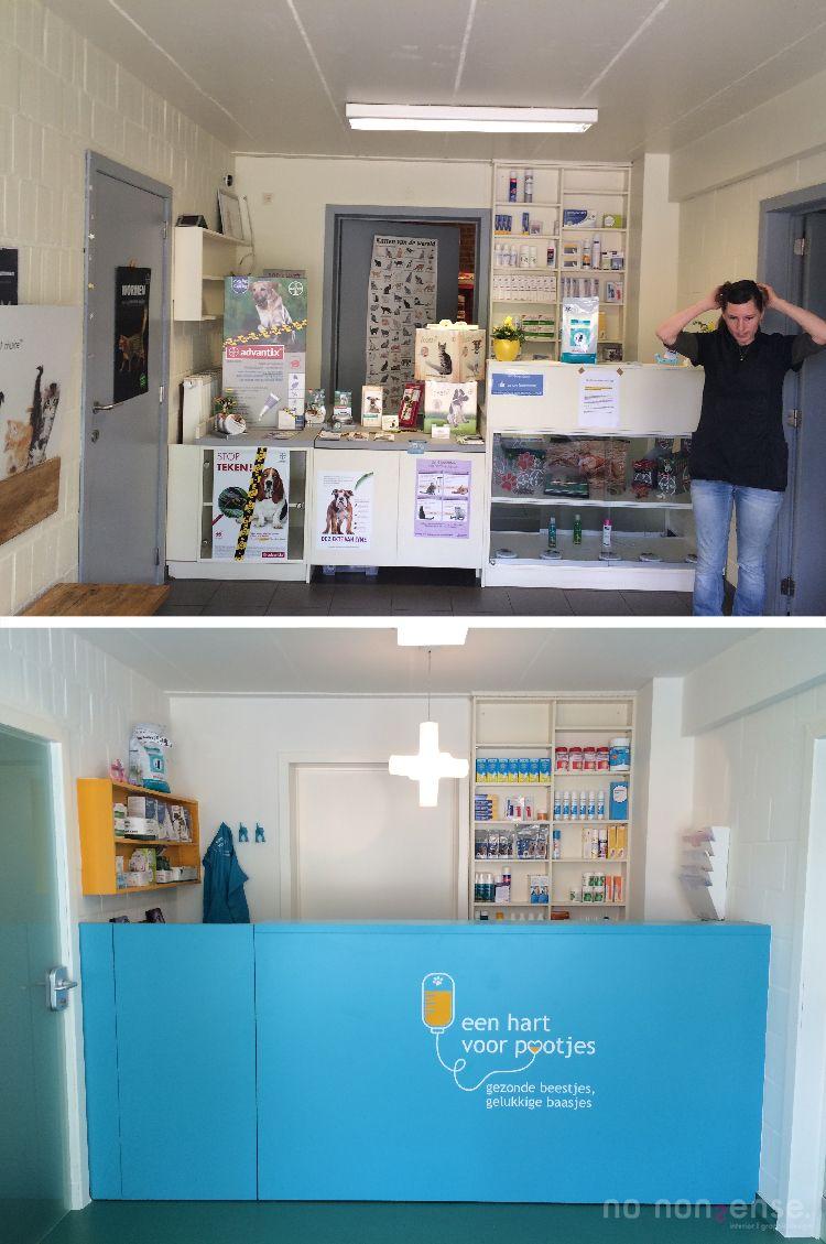 Voor en na van de onthaalruimte dierenartsenpraktijk #no_nonsense_design