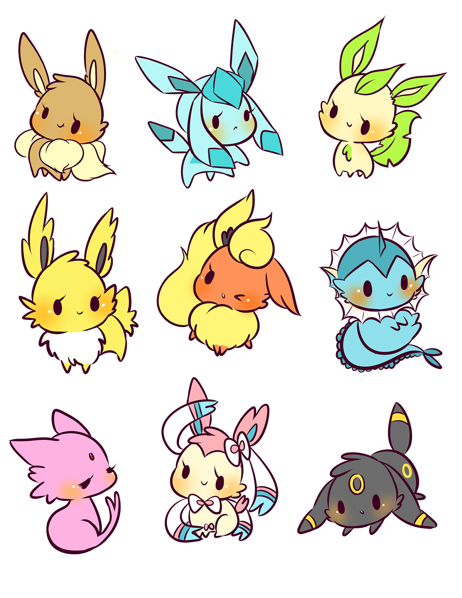 Eeveelution buttons from birduyen Note and Pokémon