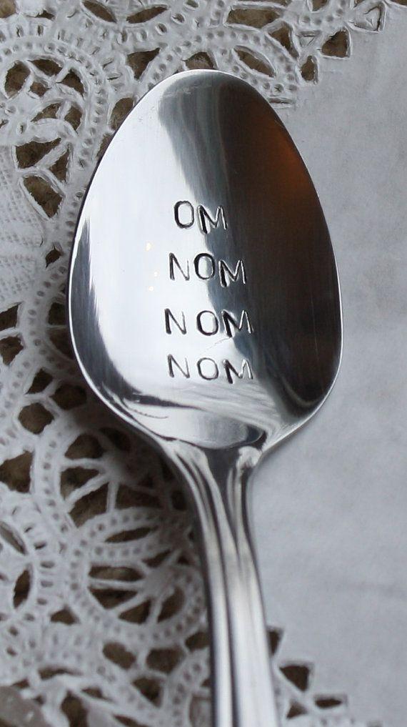 nom nom nom handstamped vintage spoon