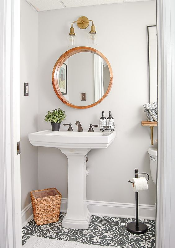 One Room Challenge Week 4tiny Powder Room Makeover Pedestal Sink Vintage Bathroom Decor Modern Vintage Bathroom Bathroom Design Decor