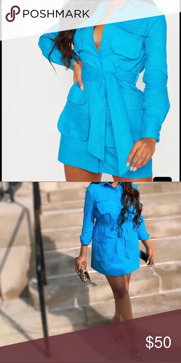 79a930f9a483f Blue Utility Tie Waist Shirt Worn Once PrettyLittleThing Dresses Mini