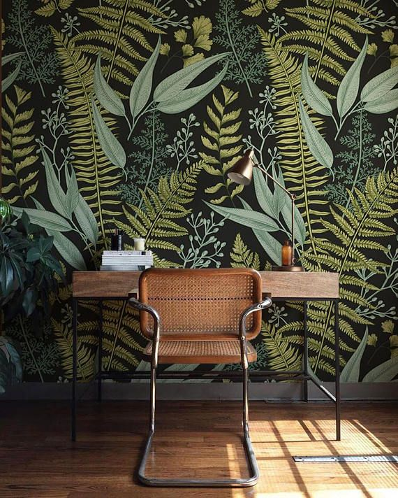 botanical wallpaper ferns wallpaper wall mural green home d cor herbal decorations easy. Black Bedroom Furniture Sets. Home Design Ideas