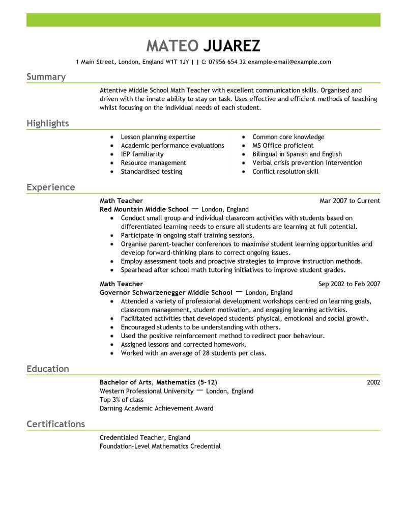 Teaching | Teacher resume template, Teaching resume, Good ...