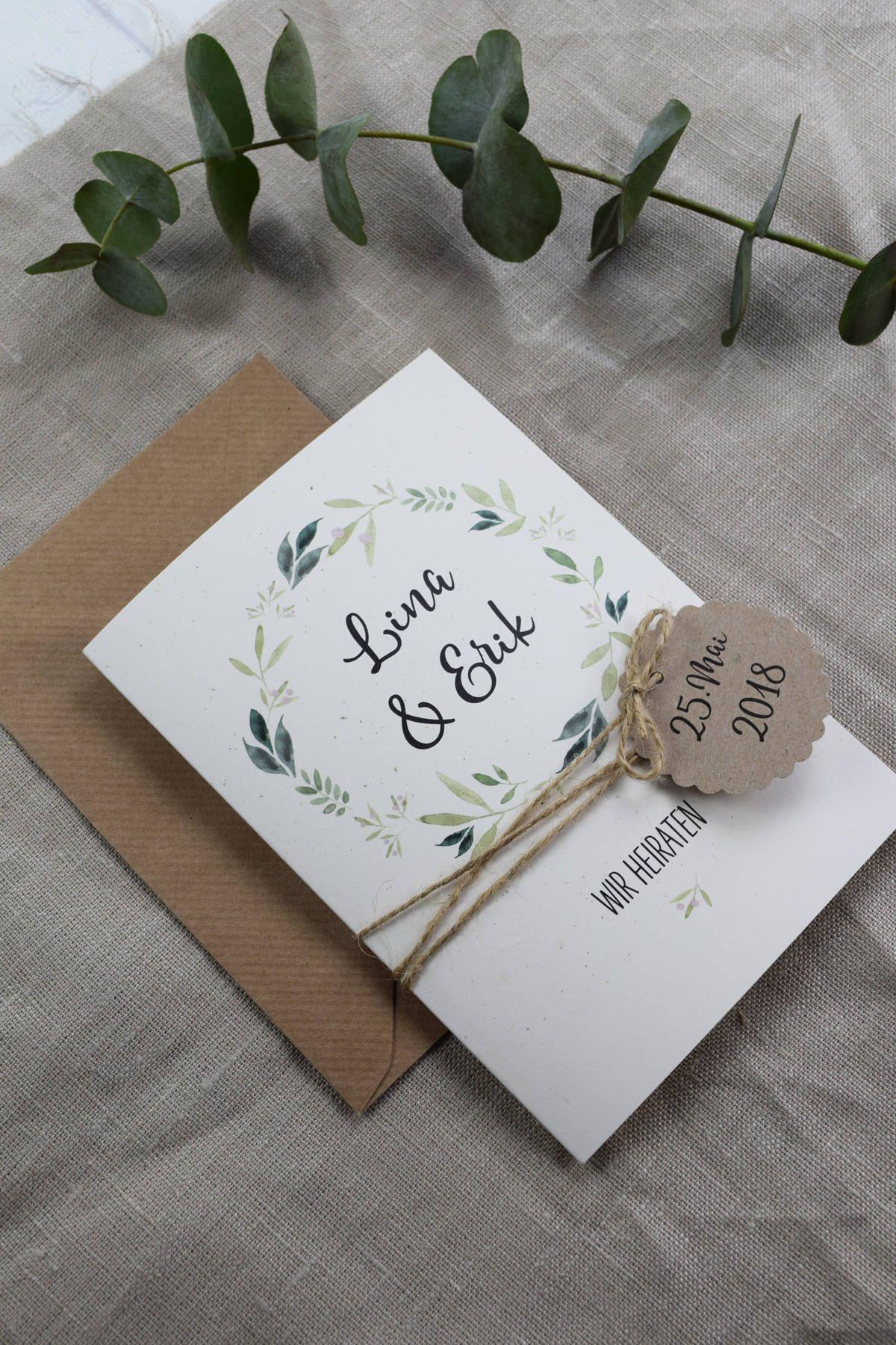 Hochzeitseinladung inkl. Tagesablauf, personalsierte Einladungskarte, Hochzeit, Hochzeitkarte mit Anhänger #personalizedwedding