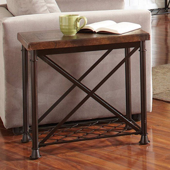 Riverside Chalet Chair Side Table   Hammered Copper   End Tables At  Hayneedle