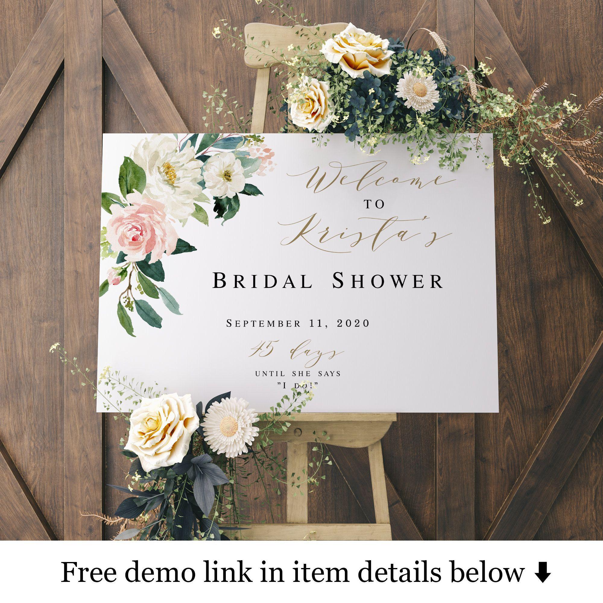 Welcome Sign Bridal Shower Bridal Sign Printable Floral Etsy Bridal Shower Welcome Sign Bridal Shower Welcome Sign