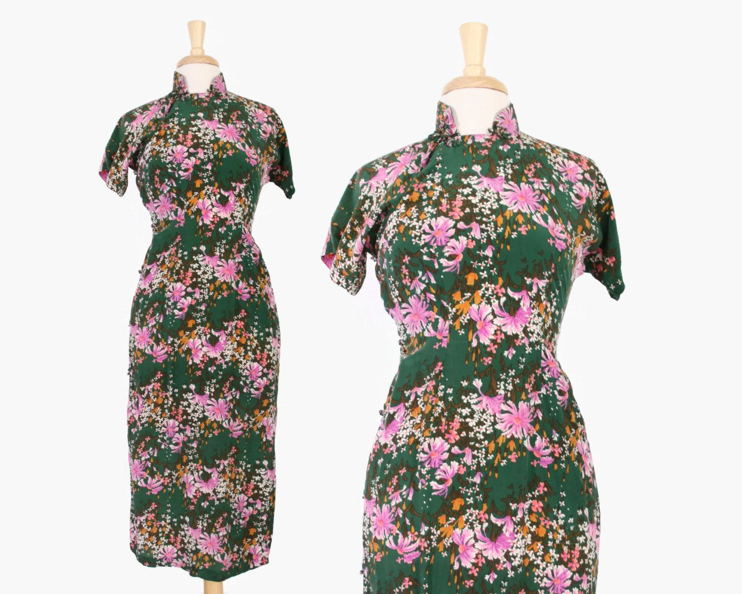 40s Silk Cheongsam DRESS / 1940s Green & Pink Floral Asian Wiggle ...