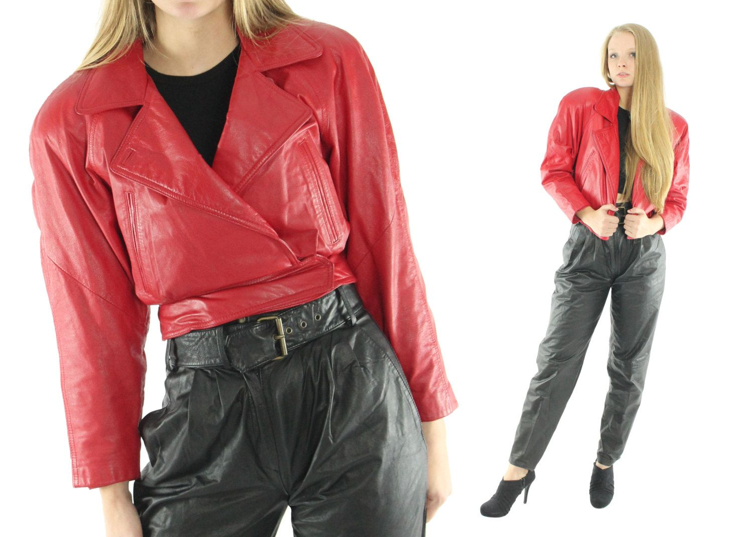 Vintage 80s Leather Jacket Cropped Motorcycle Jacket Red Leather Jacket Biker Jacket 1980s Outerwear Coat Xs Small S Belted Jacket Wilson Leather Jacket Red Jacket Belted Jacket [ 1071 x 1500 Pixel ]