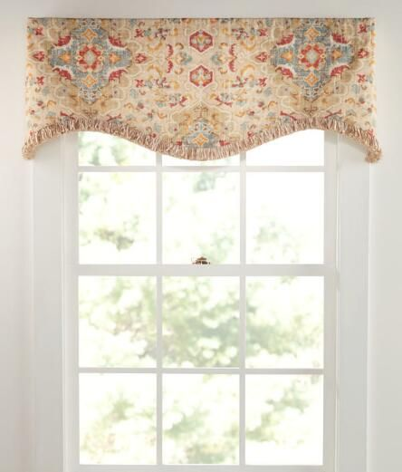 Antiqued Watercolor Scalloped Valance With Trim Country Curtains
