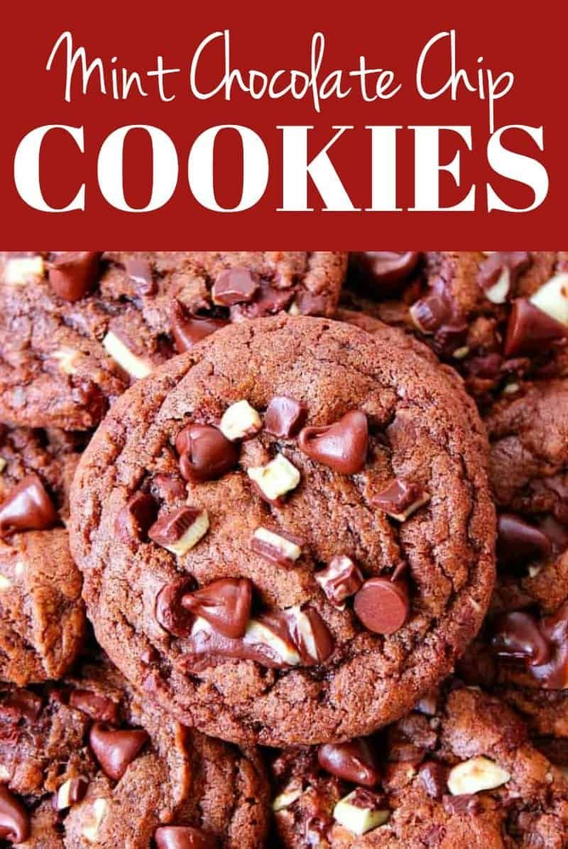 Mint Chocolate Chip Cookies Recipe  chocolate cookies filled with mint chips and chocolate chips So easy no mixer needed