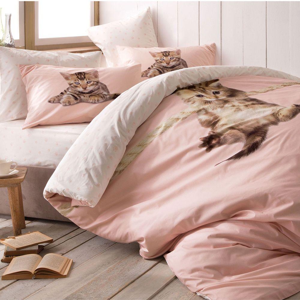 Cute Kitten Bedding Set Little Cats In Dusty Pink Kitty Comforter Bedding Set Kitten Beds Bed