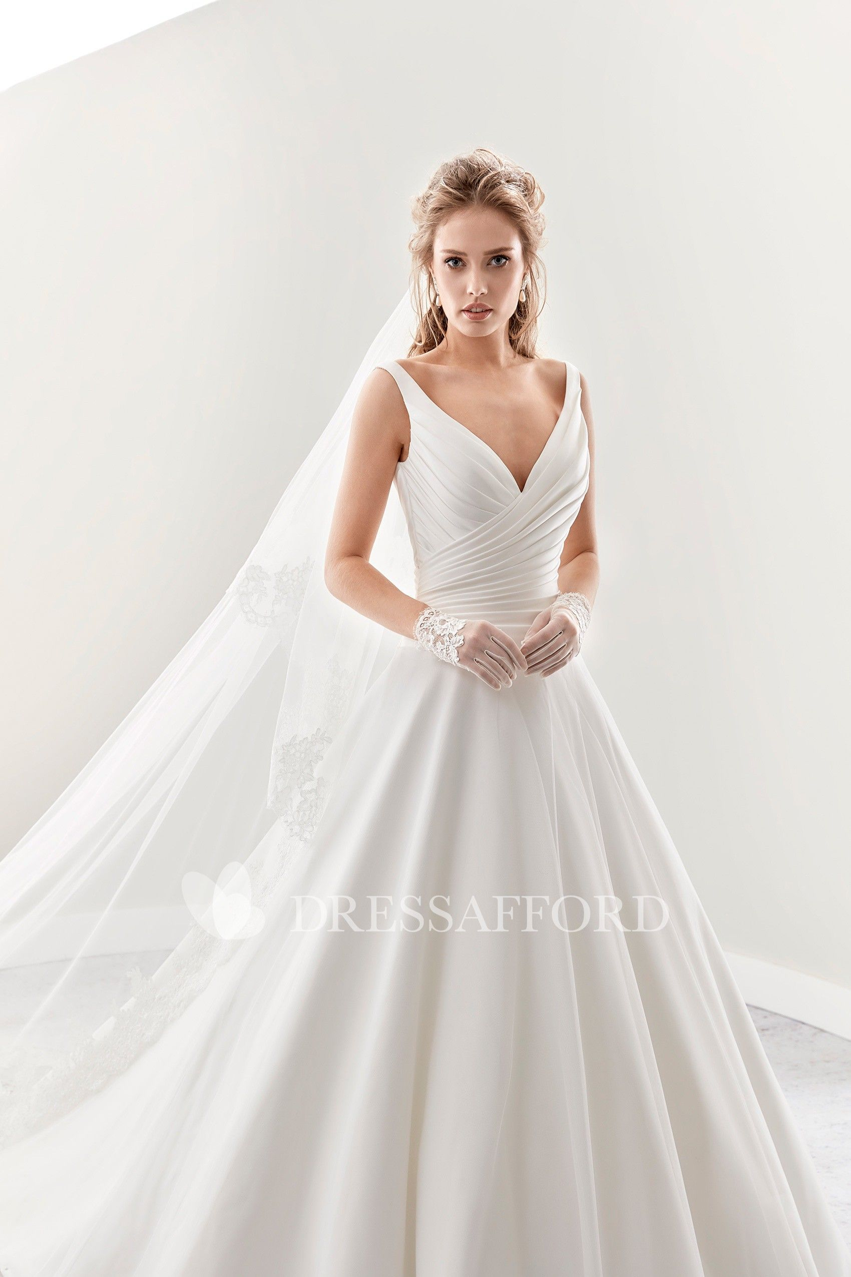 V Neck A Line Pleated Bridal Gown With Low V Back And Brush Train Dress Afford Perfect Wedding Dress Bridal Gowns Pleated Wedding Dresses [ 2550 x 1700 Pixel ]