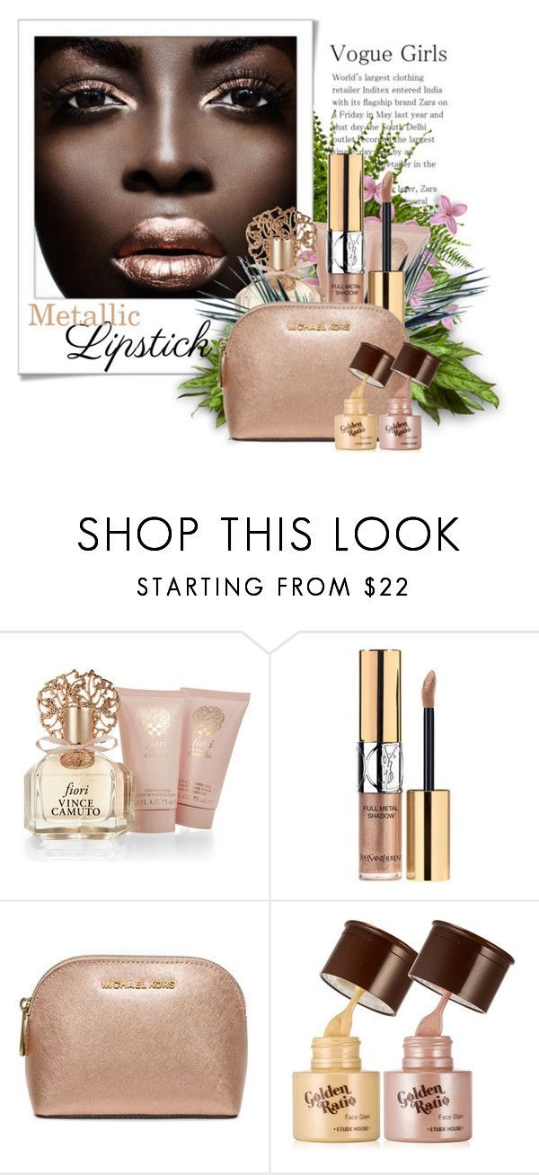 """Metallic Lipstick"" by lenochca ❤ liked on Polyvore featuring beauty, Polaroid, Vince Camuto, Yves Saint Laurent, Michael Kors and metalliclipstick"