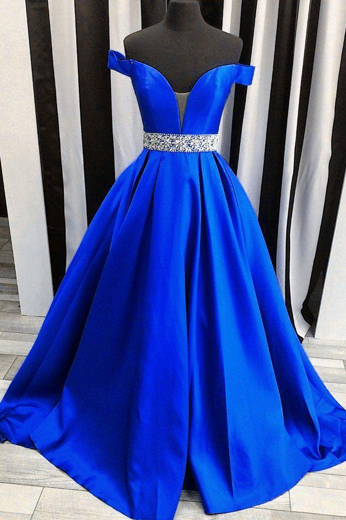 Navy blue satins off-shoulders long prom dresses,elegant formal ...