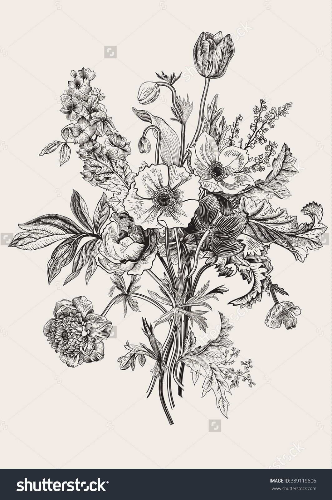 Line Drawings Of Flower Arrangements : Victorian bouquet spring flowers poppy anemones tulips