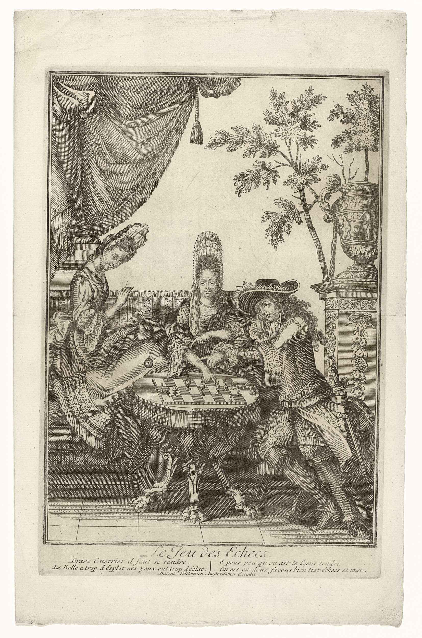 Barent Velthuysen | Le Jeu d'Echecs, Barent Velthuysen, Anonymous, c. 1680 | Een gezelschap op een bordes, gekleed volgens de mode van 1680. Een man en vrouw zitten te schaken. Een bordurende vrouw kijkt toe. Beide vrouwen hebben een fontangekapsel.