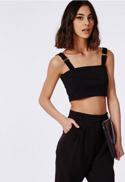 5ee2050dd146a2 Bandage Buckle Crop Top Black - Tops - Crop Tops - Missguided