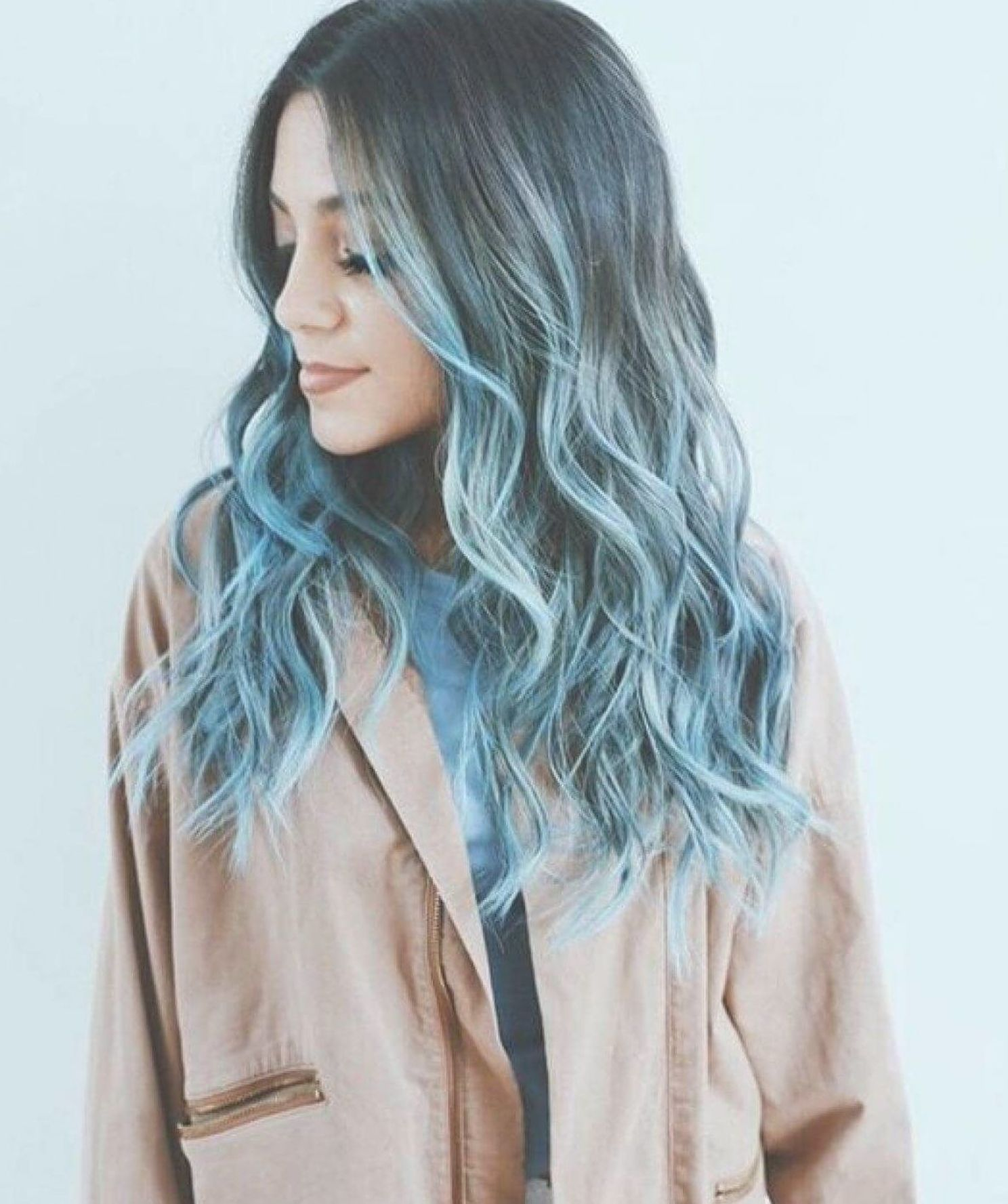 Dark Blue Faded Into Light Blue Blue Ombre Hair Pastel Blue