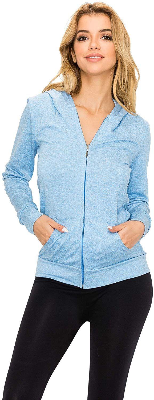 Slim Fit Lightweight Long Sleeve Hooded Zip Up Sweatshirt Athletic Workout Womens Full Zip Hoodie Jacket