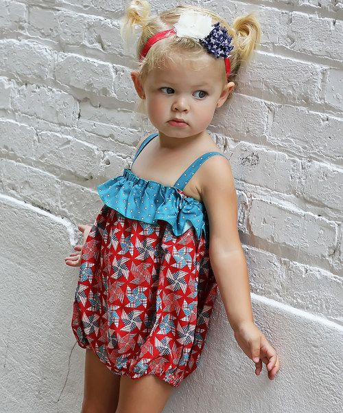 Another great find on #zulily! Red & Blue Pinwheel Ruffle Bubble Bodysuit - Infant by Gus & Lola #zulilyfinds