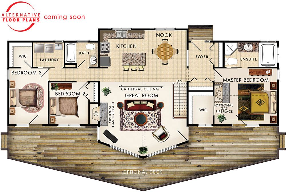 Banff Iii Floor Plan Make It Two Master Suites Instead Of Three Bedrooms Beaver Homes And Cottages Floor Plans House Plans