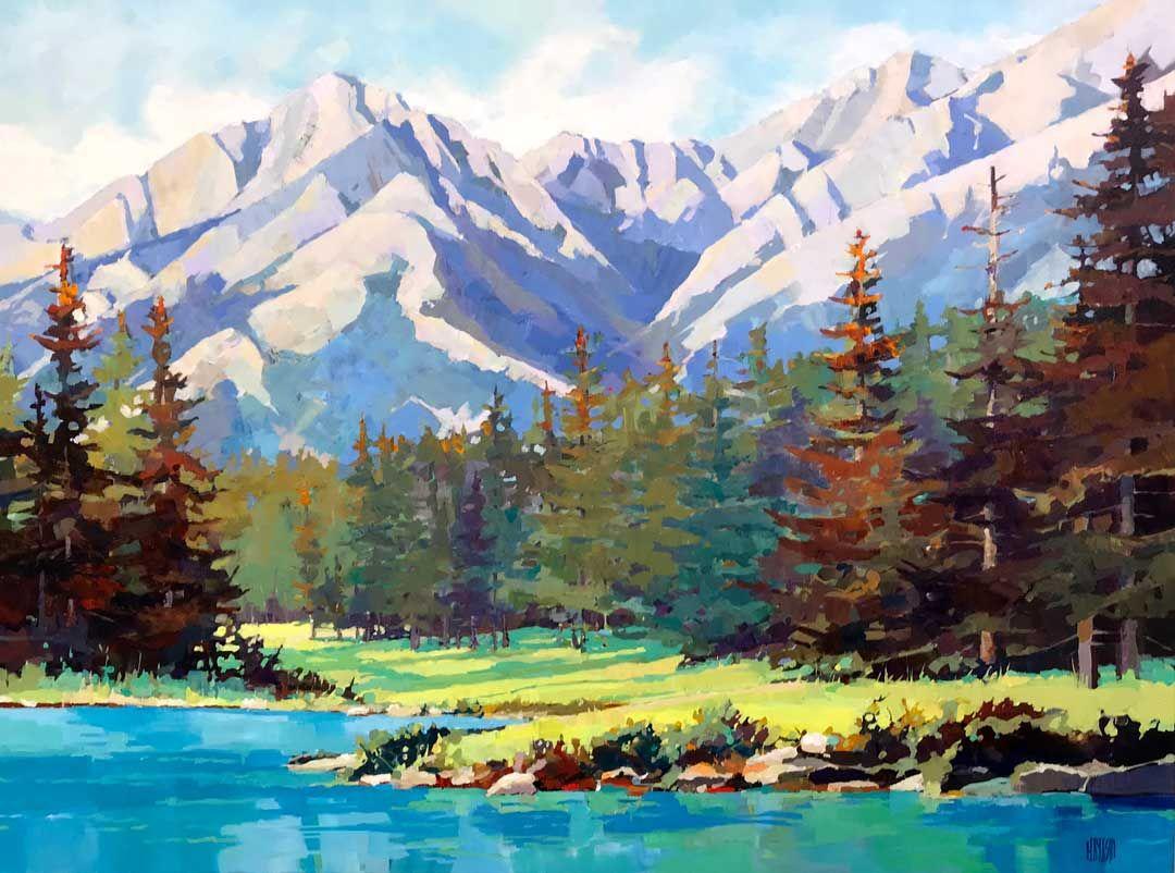 Tea Time 30 X40 Mountain Painting Acrylic Landscape Paintings Mountain Paintings
