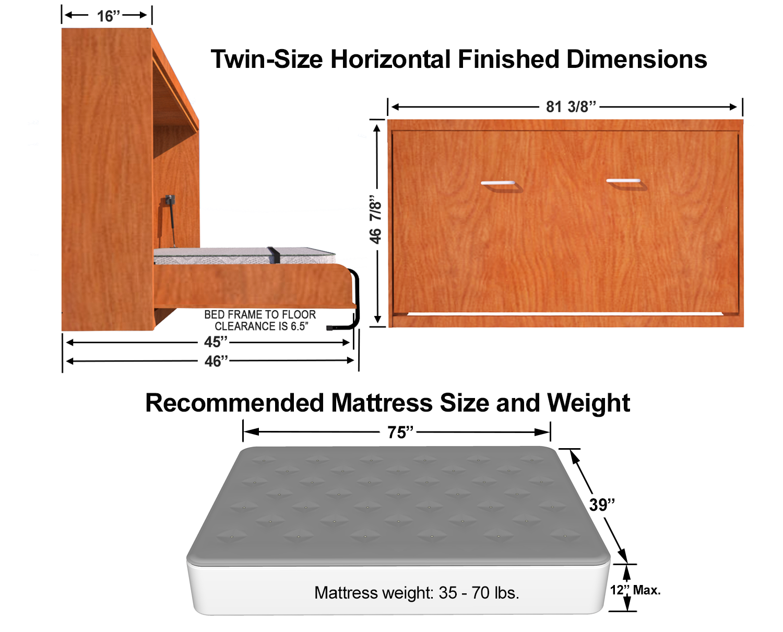 Horizontal Twin (Single) Size Kit Easy DIY Murphy Bed