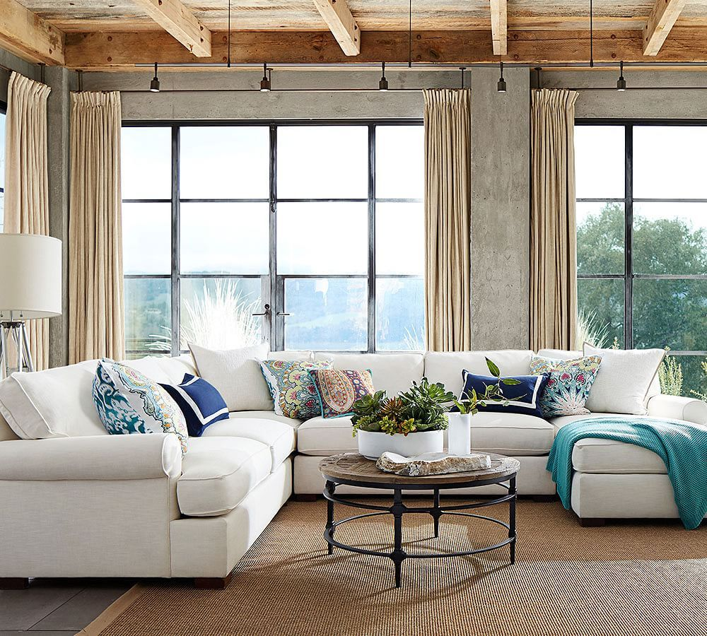 Townsend Upholstered 4-Piece Sectional With Chaise   Pottery Barn : chaise pottery barn - Sectionals, Sofas & Couches