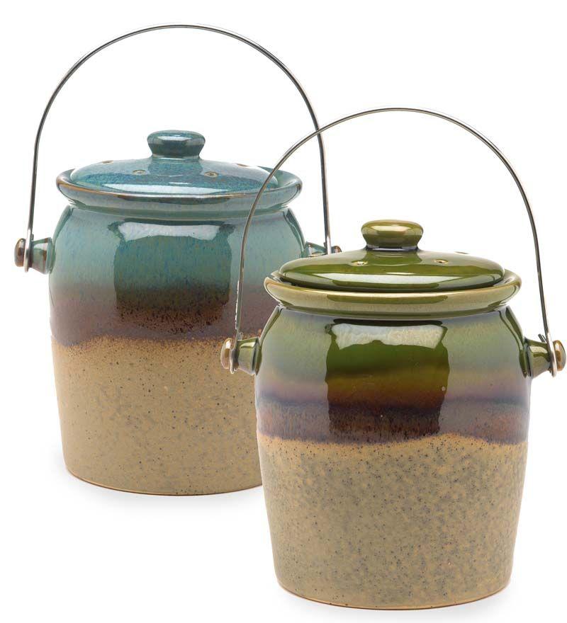 1 Gallon Glazed Earthenware Compost Crock Kitchen Compost Bins Compost Container Kitchen Compost Bin Compost