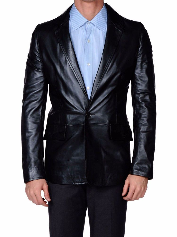78938a70c1b NEW MEN S GENUINE LAMBSKIN REAL LEATHER BLAZER JACKET SLIM FIT COAT FREE  SHIP  EleganceLeathers  TWOBUTTON  leatherblazer  leatherwork  black   handmade