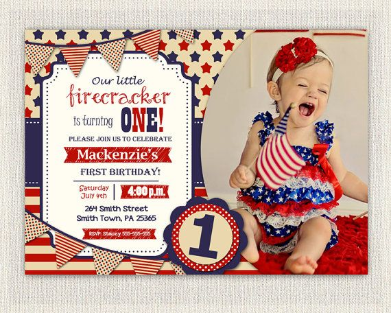 Fourth Of July First Birthday Invitation Girl Boy Invite Gender Neutral 4th Patriot Red White A