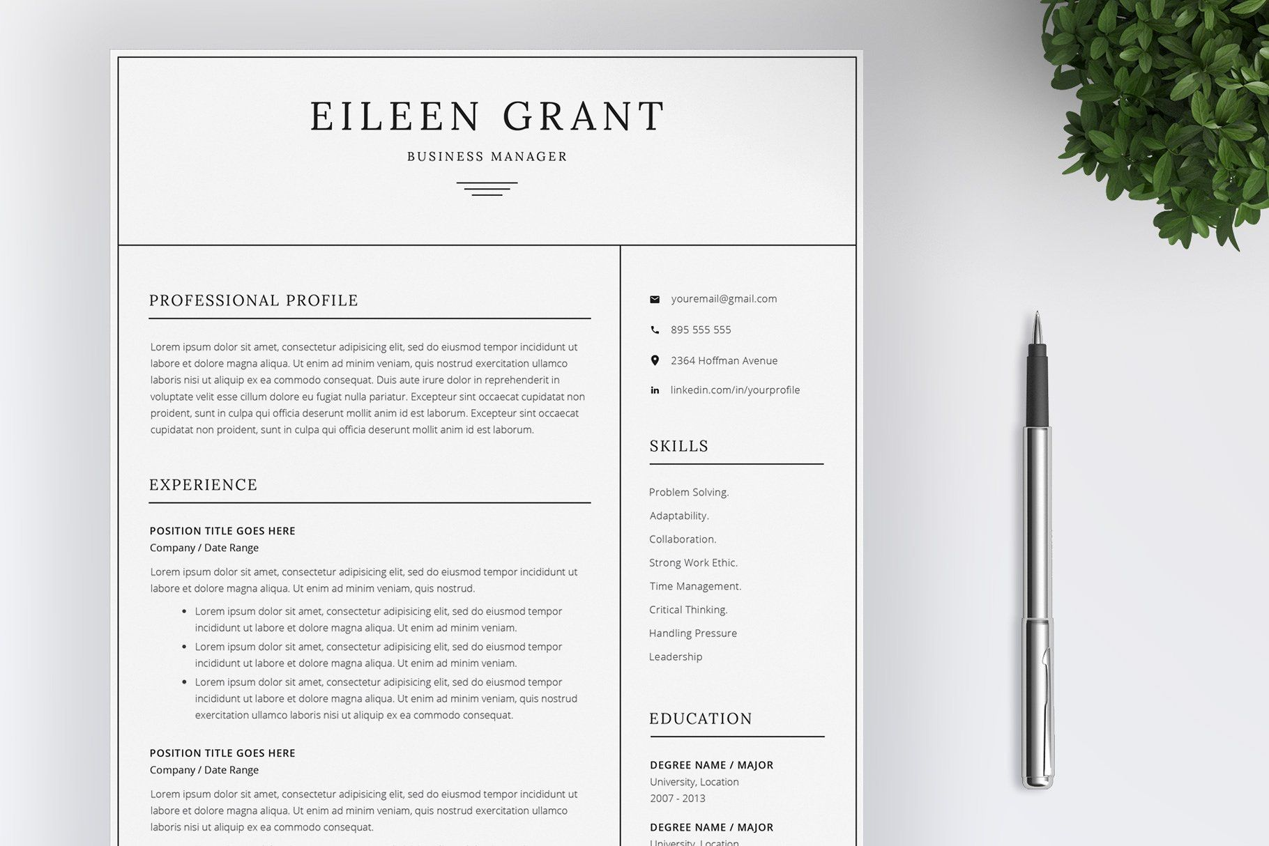 Resume Template 4 Pages Cv With Images One Page Resume Template Unique Resume Template Resume Template