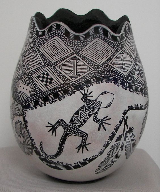 Gourd with White Ink, Zentangle and Sharpie Marker: