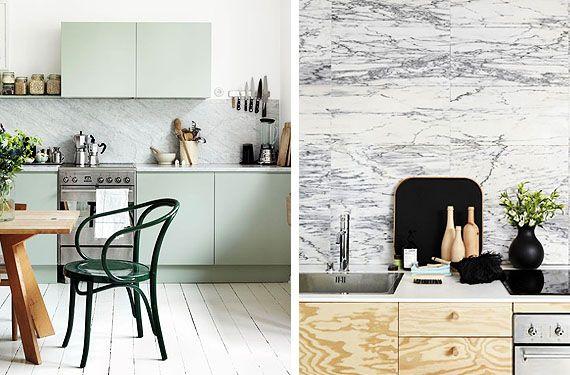 Frentes de cocina en mármol blanco - http://www.decoora.com/frentes ...