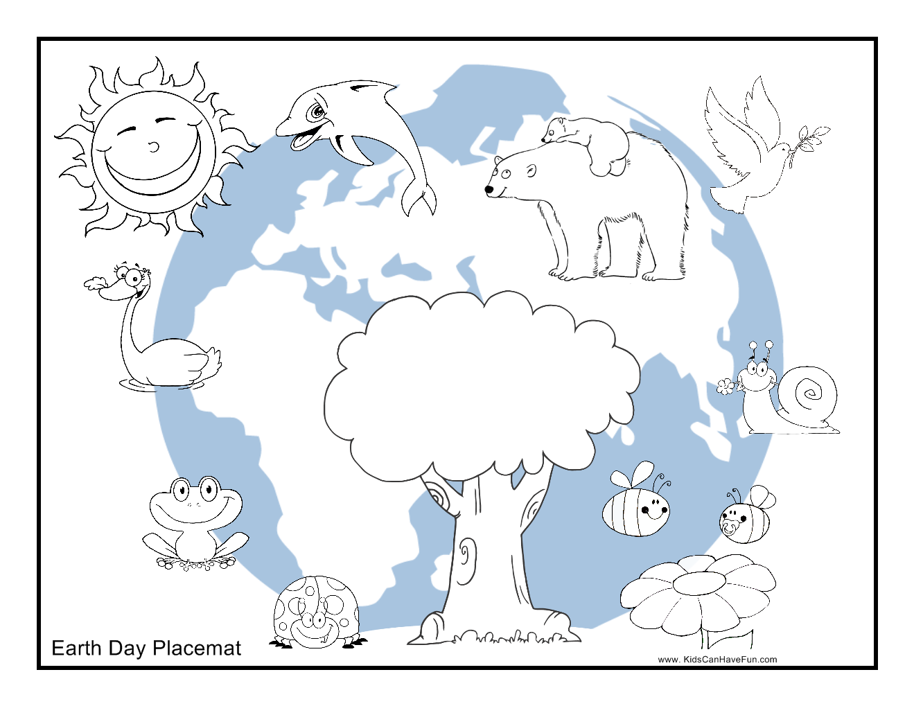 Color Earth Day Placemat to color httpwwwkidscanhavefuncom