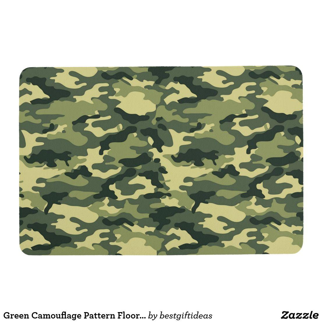 Green Camouflage Pattern Floor Mat | Zazzle.com | Floor