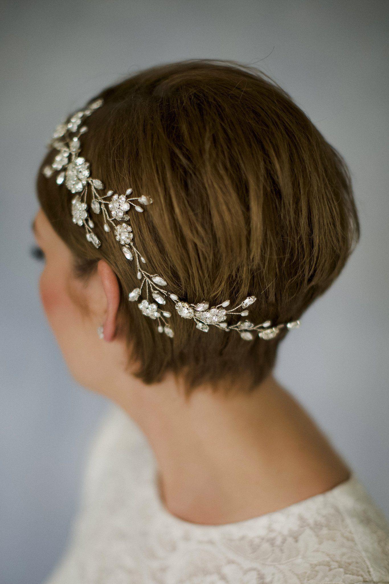 crystal wedding hair accessory hairvine for a short haired