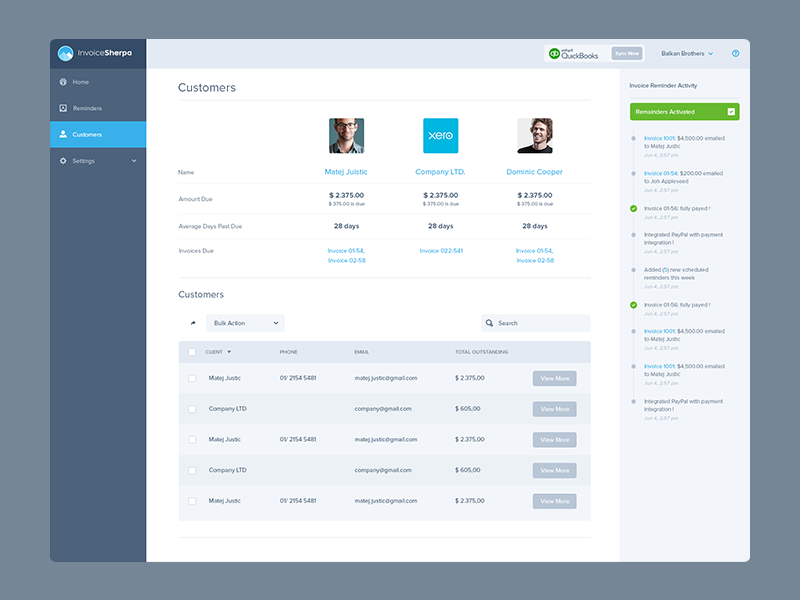 Invoice Sherpa Dashboard Inner Pages by Balkan Brothers
