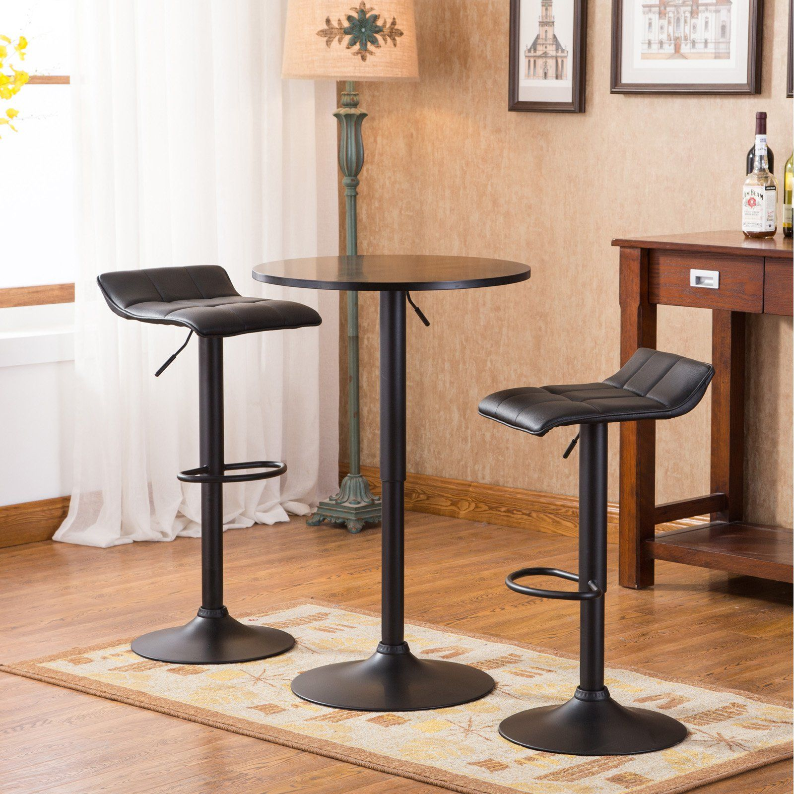 Roundhill Furniture Belham Round Top Adjustable Height Bar