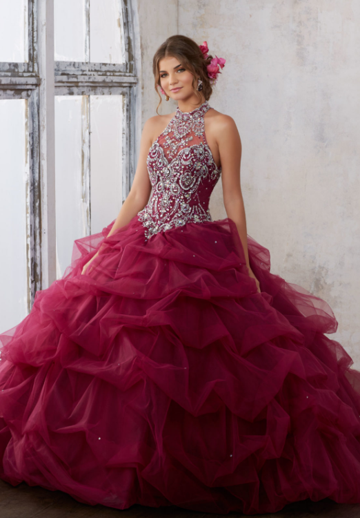 48372a7985 Pha lê Halter Quinceañera Dress 2017 Pick Up Sóng Keyhole Corset Lại Đảng  Dress Debutante Bóng Gown vestido para festa