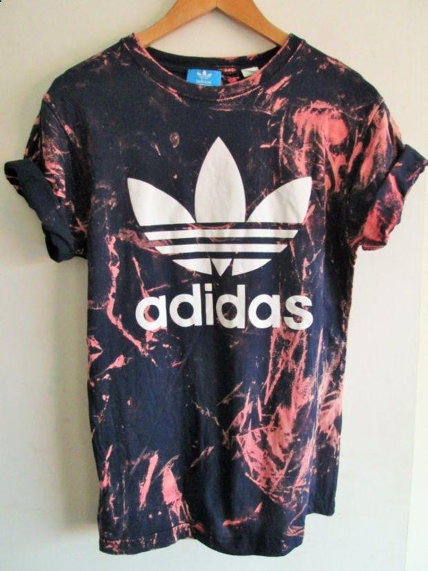 Vintage acid wash tie dye adidas originals retro rave festival unique urban grunge Ibiza unisex skater T shirt