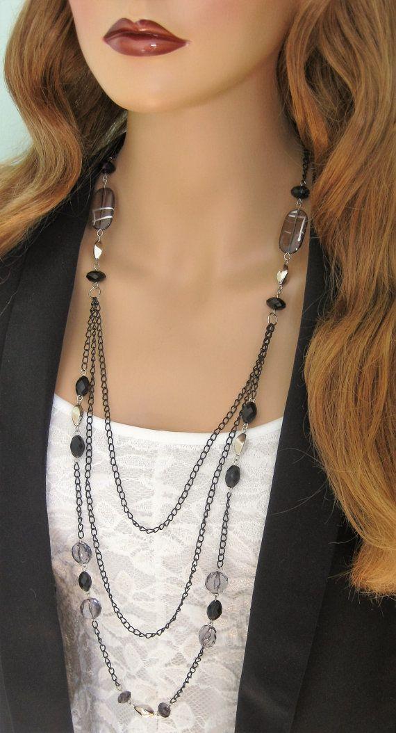 Black Beaded Necklace Long Multistrand Black by RalstonOriginals