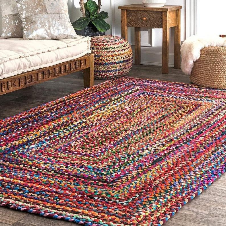Braided Cotton Rag Rug Braided Carpet Rug Meditation Mat Mandala Rug Bohemian Decor Colorful Area Rug Home Decor Floor Rugs 6x4 Feet Colorful Area Rug Rugs On Carpet Mandala Rug