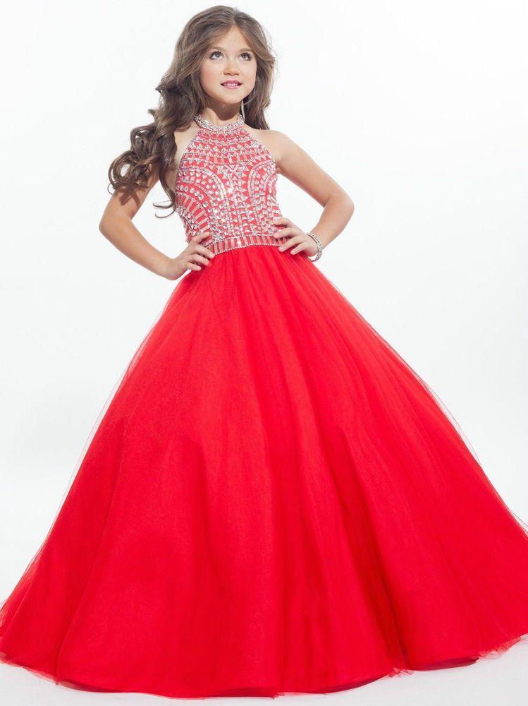 Custom Princess Girls kids Pageant Dress Ball Gown Prom Birthday ...